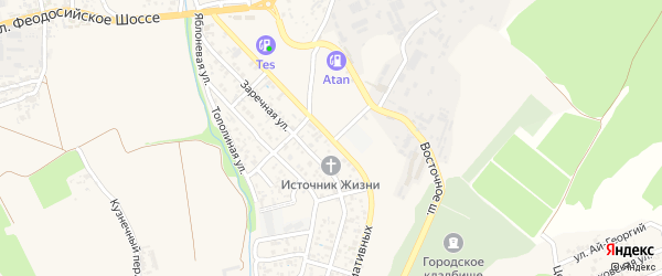 Улица Инициативных на карте Судака с номерами домов