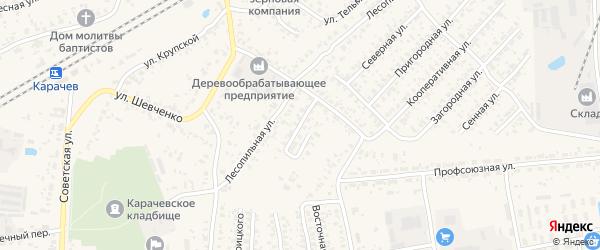 Железнодорожный переулок на карте Карачева с номерами домов