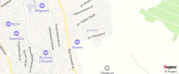 Переулок Манджил на карте Судака с номерами домов
