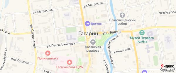 Привокзальный микрорайон на карте Гагарина с номерами домов