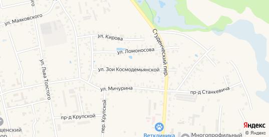 Улица Космодемьянской в Гагарине с номерами домов на карте. Спутник и схема онлайн