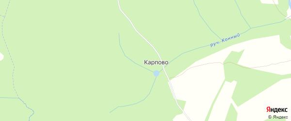 Карта деревни Карпово в Калужской области с улицами и номерами домов
