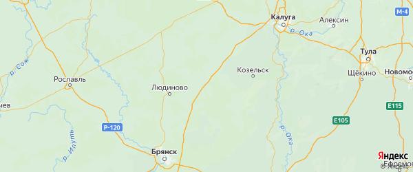 Карта Думиничского района Калужской области с городами и населенными пунктами