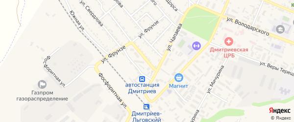 Железнодорожная улица на карте Дмитриева с номерами домов