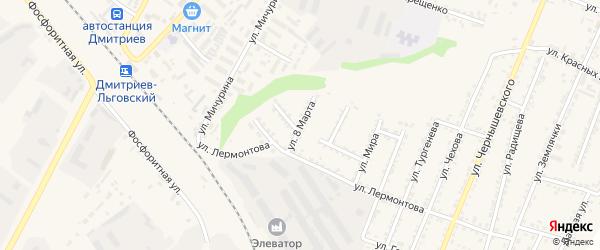 Улица 8 Марта на карте Дмитриева с номерами домов