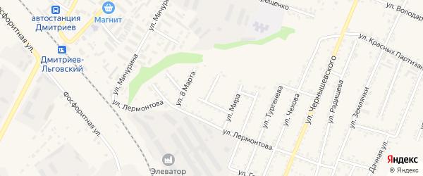 Улица Островского на карте Дмитриева с номерами домов