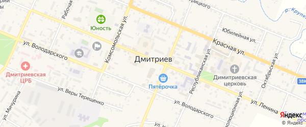 Краснознаменская улица на карте Дмитриева с номерами домов