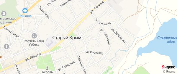 Фонтанная улица на карте Старого Крыма с номерами домов