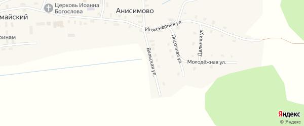 Вяльская улица на карте деревни Анисимово Вологодской области с номерами домов