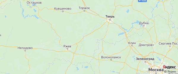 Карта Старицкого района Тверской области с городами и населенными пунктами