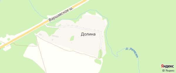 Родниковый переулок на карте деревни Долины Калужской области с номерами домов