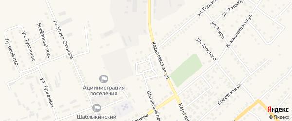 Дорожный переулок на карте поселка Шаблыкино Орловской области с номерами домов