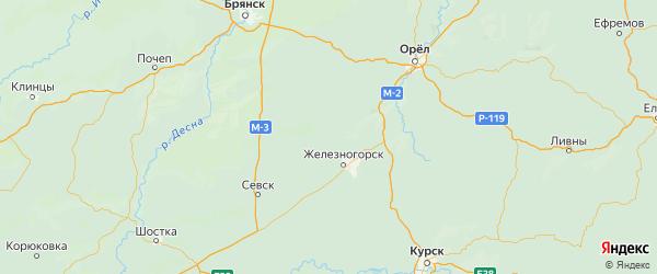 Карта Дмитровского района Орловской области с городами и населенными пунктами