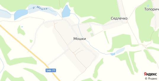 Карта деревни Мошки в Орловской области с улицами, домами и почтовыми отделениями со спутника онлайн