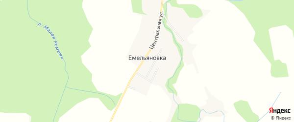 Карта деревни Емельяновки в Калужской области с улицами и номерами домов