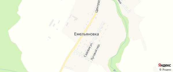 Полевой переулок на карте деревни Емельяновки Калужской области с номерами домов