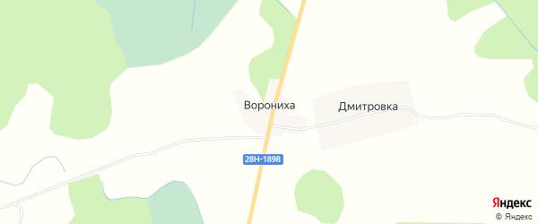 Карта деревни Воронихи города Удомли в Тверской области с улицами и номерами домов