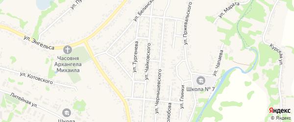 Улица Чайковского на карте Льгова с номерами домов