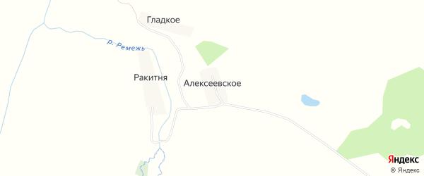Карта деревни Алексеевского в Калужской области с улицами и номерами домов
