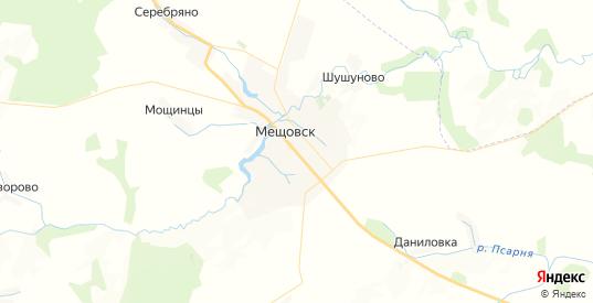Карта Мещовска с улицами и домами подробная. Показать со спутника номера домов онлайн