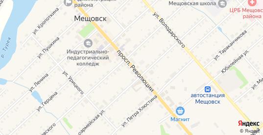 Советская площадь в Мещовске с номерами домов на карте. Спутник и схема онлайн