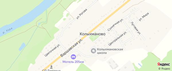 Варшавская улица на карте деревни Колыхманово Калужской области с номерами домов
