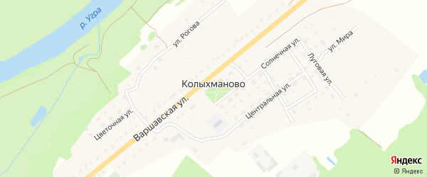 Речная улица на карте деревни Колыхманово Калужской области с номерами домов