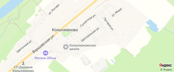 Центральная улица на карте деревни Колыхманово Калужской области с номерами домов