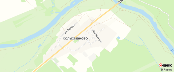 Карта деревни Колыхманово в Калужской области с улицами и номерами домов