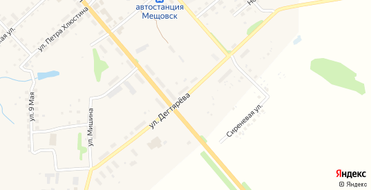 Улица Дегтярева в Мещовске с номерами домов на карте. Спутник и схема онлайн