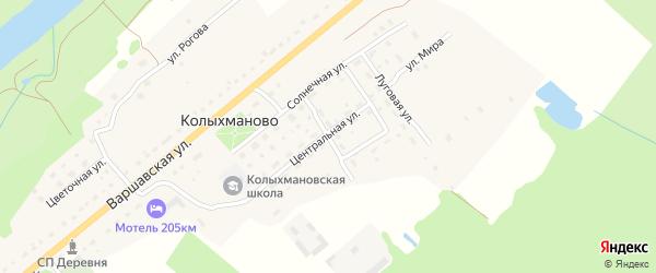 Садовая улица на карте деревни Колыхманово Калужской области с номерами домов