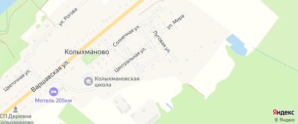 Лесной переулок на карте деревни Колыхманово Калужской области с номерами домов