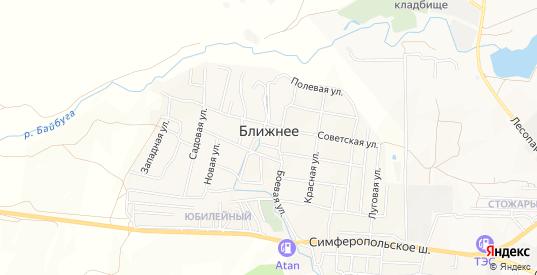 Карта села Ближнее в Феодосии с улицами, домами и почтовыми отделениями со спутника онлайн