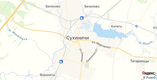 Карта Сухиничей с улицами и домами подробная. Показать со спутника номера домов онлайн