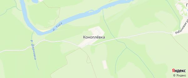 Карта деревни Коноплевка в Калужской области с улицами и номерами домов