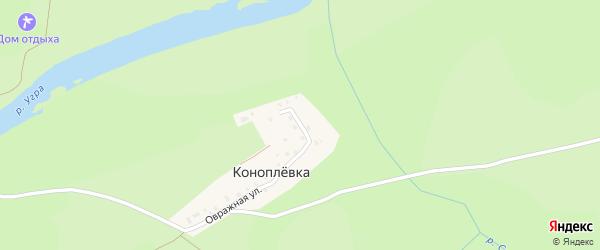 Восточная улица на карте деревни Коноплевка Калужской области с номерами домов