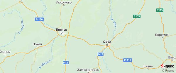 Карта Хотынецкого района Орловской области с городами и населенными пунктами