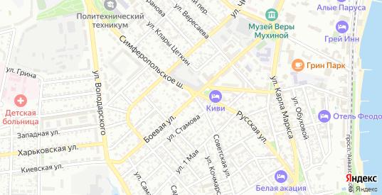 Боевая улица в Феодосии с номерами домов на карте. Спутник и схема онлайн