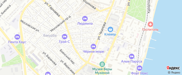 Улица Листовничей на карте Феодосии с номерами домов