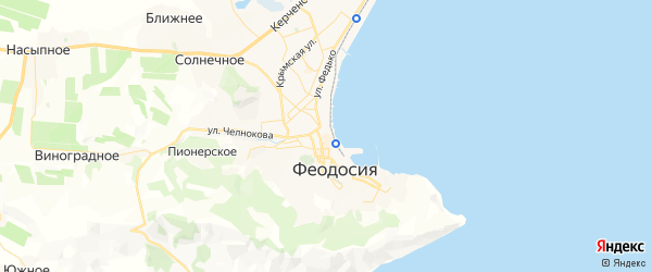 Карта Феодосии с районами, улицами и номерами домов