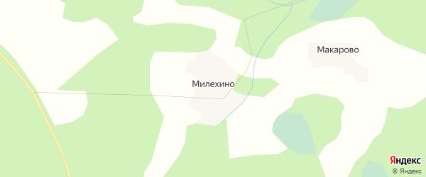 Карта деревни Милехино города Удомли в Тверской области с улицами и номерами домов