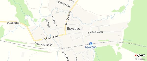 Карта поселка Брусово города Удомли в Тверской области с улицами и номерами домов