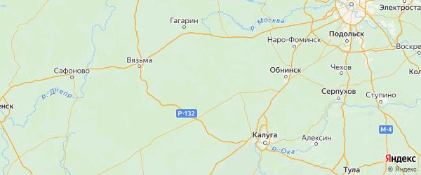 Карта Износковского района Калужской области с городами и населенными пунктами