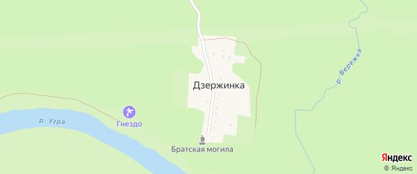 Речная улица на карте деревни Дзержинки Калужской области с номерами домов