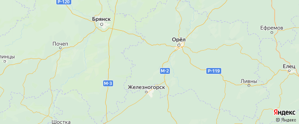 Карта Сосковского района Орловской области с городами и населенными пунктами