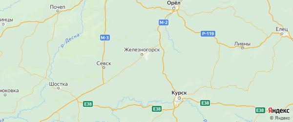 Карта Железногорского района Курской области с городами и населенными пунктами