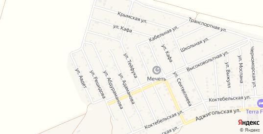Улица Тейфука в поселке Приморский в Феодосии с номерами домов на карте. Спутник и схема онлайн