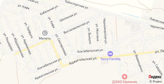 Спортивная улица в поселке Приморский в Феодосии с номерами домов на карте. Спутник и схема онлайн