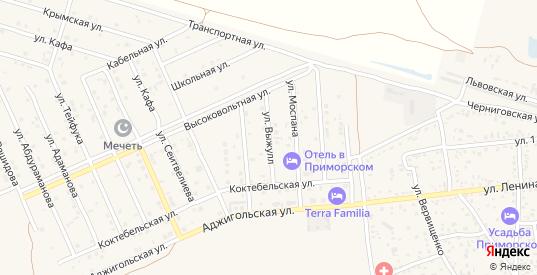 Улица Выжулл в поселке Приморский в Феодосии с номерами домов на карте. Спутник и схема онлайн