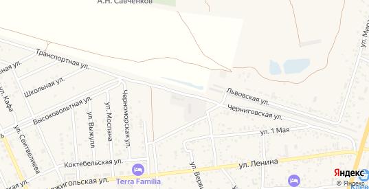 Транспортная улица в поселке Приморский в Феодосии с номерами домов на карте. Спутник и схема онлайн